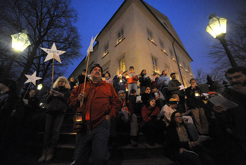 The peace pilgrims sing Christmas Carols on the steps of Central Moravian Church on Main Street in Bethlehem at their end of the journey during the 53rd Annual Nazareth to Bethlehem Christmas Peace Pilgrimage Saturday afternoon.