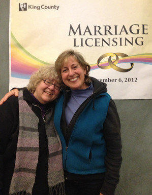Sue Hopkins, left, and Marji Lynn have been together 16 years. They plan to wed Sunday.