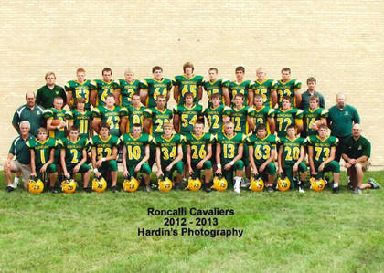 In its Coaches vs. Cancer game on Sept. 28, the Roncalli football team raised $1,303 for the American Cancer Society. Front row, from left: Coach Terry Dosch, Logan Karst, Greg Zens, Tyson Mitzel, Jayden Everson, Dylan Krueger, Anthony andera, Brayden Hilton, Matt Fetherhuff, Dan Gallagher, JT Berger and Coach Justin Briese. Middle row, from left: Coach Kendall Hoellein, Layne Holzer, Kyle Martin, Collin Hilzendeger, Morgan Musel, Lucas Lorenz, Matt Schlosser, Matt Swallow, Zach lundquist, Spencer Schaefbauer, John Schwab, Colton Cox and Coach Tim Beck. Back row, from left: Coach Brady Lesnar, Tyler Wanttie, Zach Sumner, Brayden McNeary, Chris Hilzendeger, Nolan Schlosser, Landon Hoellein, Austin Maag, Zach Andera, Dalton Cox and Coach Eric Cantwell.