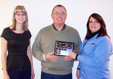 "Aberdeen Federal Credit Union was recently honored by Homes Are Possible Inc. of Aberdeen for its ""partner level"" donation to the group's annual sustaining membership drive. From left are Ashley Larson of AFCU, Jeff Mitchell of HAPI and Julie Bohling of AFCU."