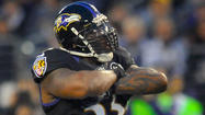 <a>Baltimore Ravens</a> Pro Bowl outside linebacker Terrell Suggs has been ruled out for today's game at FedEx Field against the Washington Redskins with a torn right biceps.