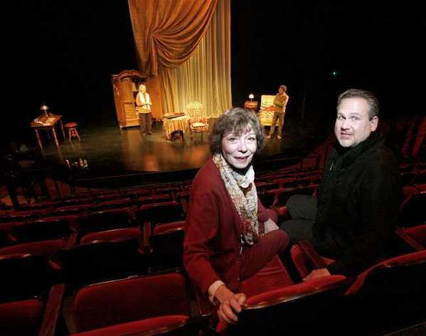 "Burbank's Colony Theater's artistic director Barbara Beckley, left, and executive director Trent Steelman, right, inside the theater during rehearsal of ""The Morini Strad"" in Burbank. The theater is having financial problems."