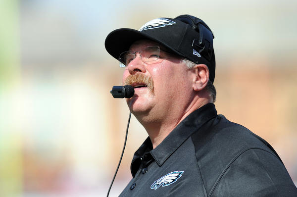 Philadelphia Eagles head coach Andy Reid looks on during the first quarter against the Tampa Bay Buccaneers at Raymond James Stadium.