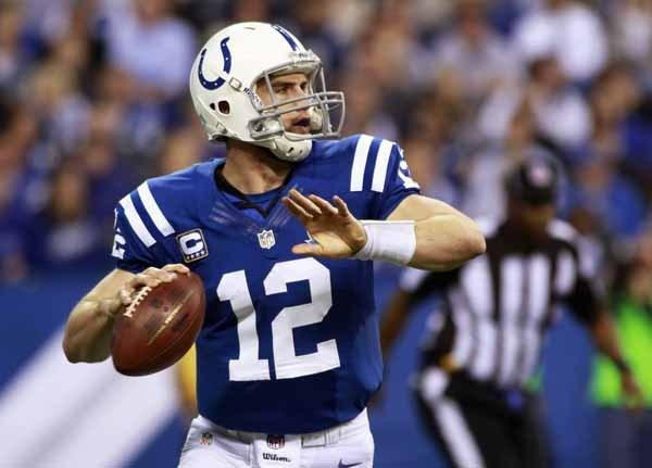 Indianapolis' Andrew Luck throws against Tennessee's during their NFL football game in Indianapolis, Indiana.