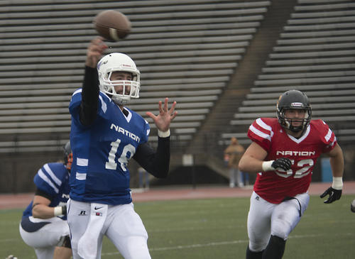 Blue Nation quarterback Garrett Pinciotti of Millsaps College passes in the second quarter of the National Bowl all-star football game at J. Birney Crum Stadium in Allentown on Sunday.