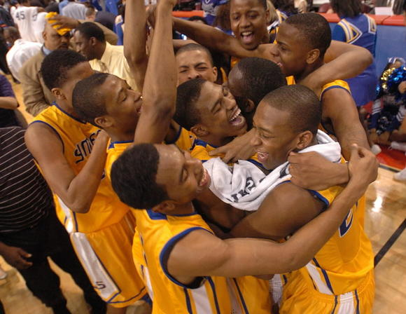 Simeon celebrates after defeating Proviso East in the Class 4A state title game last season.