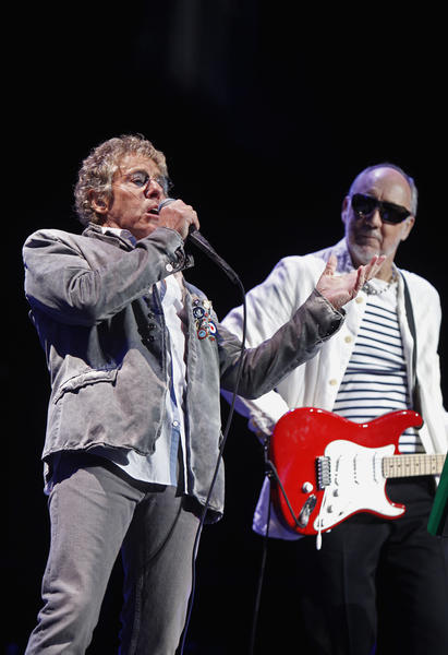 Roger Daltrey, left, and Pete Townshend of The Who perform at the Wells Fargo Center in Philadelphia on December 8.