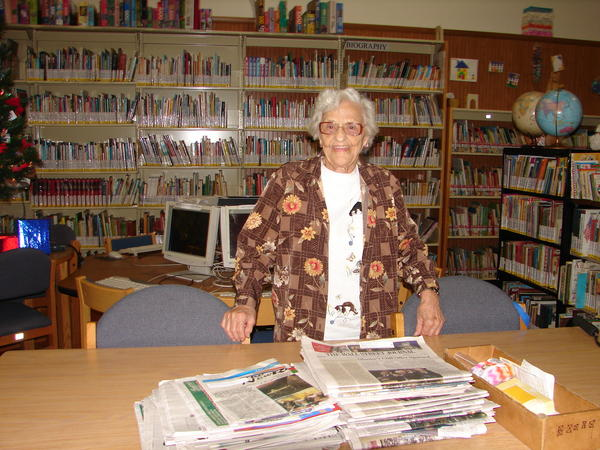 Emily Cooper, 90, Somerset Township, is a volunteer at the Somerset County Library. She works on the obituary files.