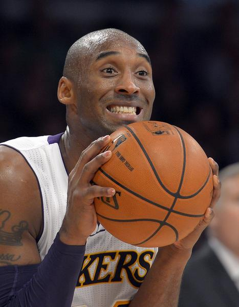 Kobe Bryant reacts to a call that went against the Lakers. Plenty has gone against the team thus far this season.