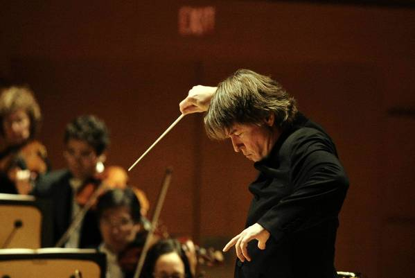 "Esa-Pekka Salonen conducts the Los Angeles Philharmonics in the West Coast premiere of ""Nyx."" on Dec. 8, 2012."