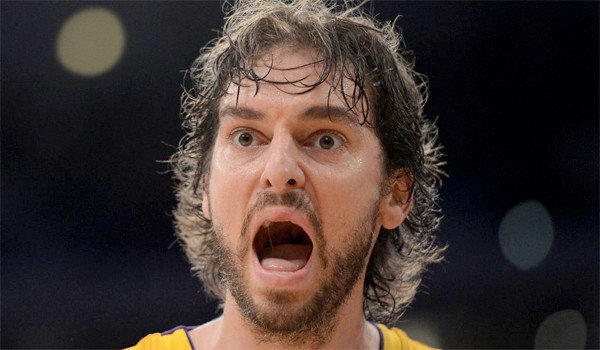 Pau Gasol reacts to a call by the officials during a loss to the Indiana Pacers, 79-77.