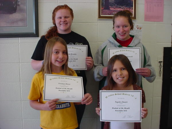 Waubay students of the month are from back left: Kayla Breske, Vanessa Kurkowski. Front, left: Tristen Ness and Taylin Owen were named the students of the month at the Waubay School. Kayla, the daughter of Ryan and Connie Breske, was nominated for her excellent class work and participation. Vanessa's good attitude in the classroom got her a nomination. Her parents are Steve and Rita Kurkowski. Fifth-grader Tristen Ness was named student of the month for her compassion toward others. She is the daughter of Shayna and Mike Ness. Taylin, the daughter of Cahera Womack, was chosen because of helpfulness in the classroom.