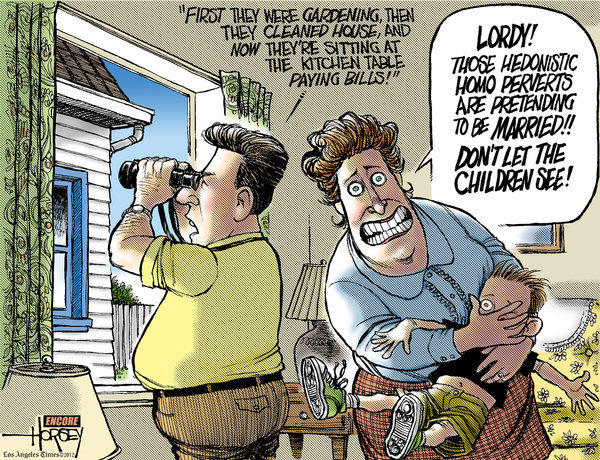 "For traditionalists, same-sex marriage is a scary proposition, as illustrated in this cartoon from David Horsey's 2007 book, ""Draw Quick, Shoot Straight."""
