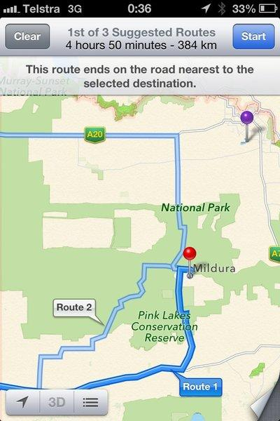A screenshot of the incorrect location of Australian city Mildura on Apple Maps.