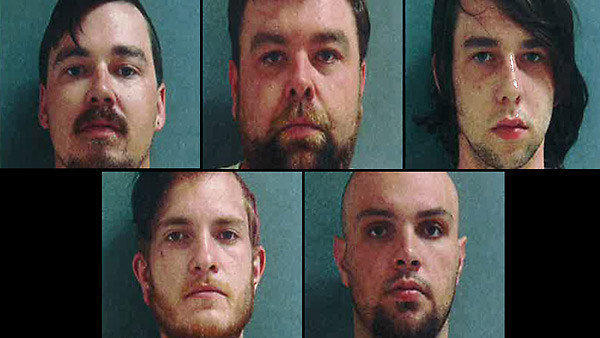 Top row: Cody Sutherlin, Jason Sutherlin and Dylan Sutherlin. Bottom row: Alex Robert Stuck and John Steve Tucker have been charged in connection with a mob attack at the Ashford House Restaurant Saturday in Tinley Park. Police are still seeking about a dozen people who attacked what they believed to be a gathering of white supremacists.