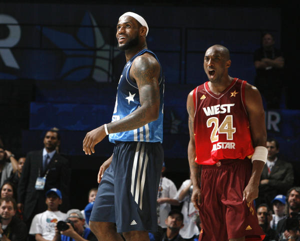 Los Angeles' Kobe Bryant (24) reacts as Miami's LeBron James (24) turns the ball over in the final seconds of the West's victory over the East in the NBA All-Star game Sunday, February 26, 2012 in Orlando, Fla.