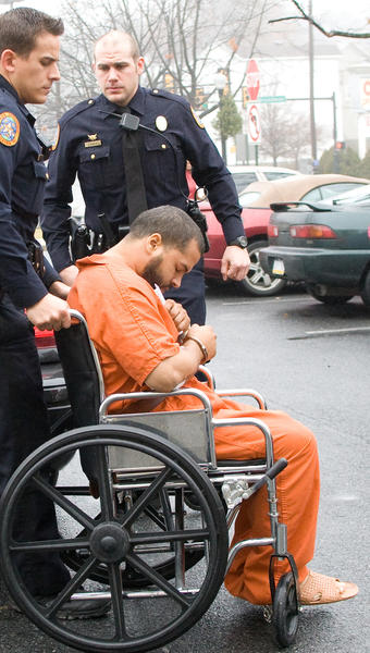 Allentown native Rene Figueroa arrives at his preliminary hearing in South Bethlehem. Figueroa, along with Javier Rivera-Alvarado of Allentown, face charges as a result of a shootout on December 2, 2012 outside the Puerto Rican Beneficial Club in South Bethlehem. The shoot out killed Yolanda Morales of Bethlehem and wounded several others.