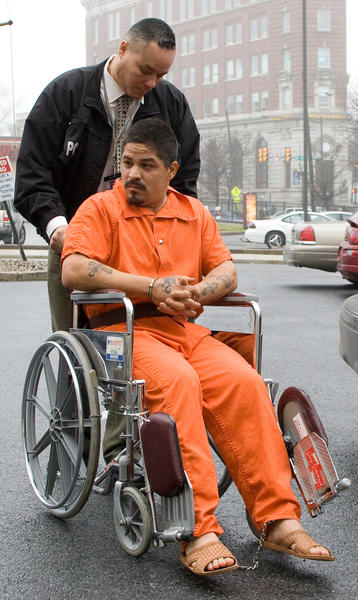 Allentown native Javier Rivera-Alvarado arrives at his preliminary hearing in South Bethlehem. Figueroa, along with Rene Figueroa of Allentown, face charges as a result of a shootout on December 2, 2012 outside the Puerto Rican Beneficial Club in South Bethlehem. The shoot out killed Yolanda Morales of Bethlehem and wounded several others.