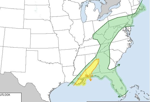 The Storm Prediction Center is forecasting a chance of severe storms across the East Coast on Monday, particularly around the Gulf of Mexico.