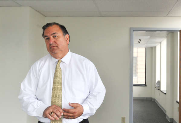 Easton's Mayor Sal Panto Jr., is shown in June talking about the 5th floor office space that is soon going to occupied in the nine-story Alpha Building in downtown Easton.