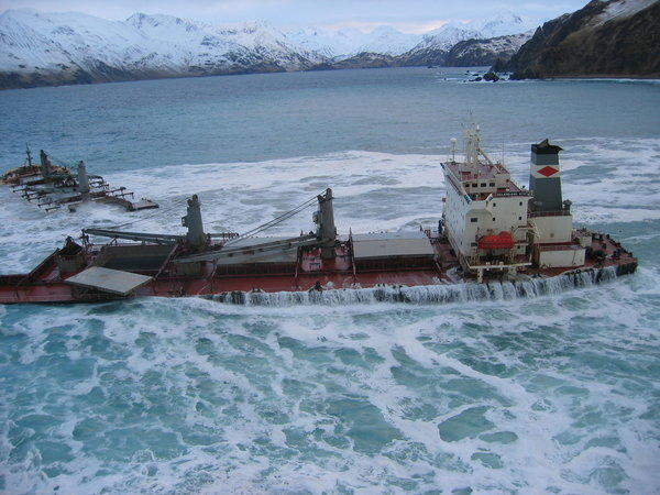The Malaysian freighter Selendang Ayu cracked in two off Unalaska Island in 2004, spilling 350,000 of heavy fuel oil, killing birds and soiling the coastline.