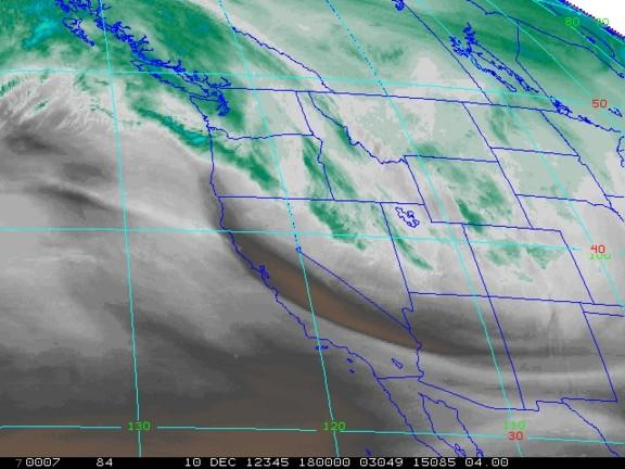 A satellite image shows water vapor above the Western U.S. on Nov. 27, 2012.