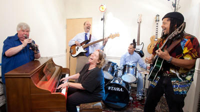 Gary Anderberg, from left, Kathy McGinn, Scott Maurer, Hank Fasteau and Damon Foreman make up the Jazz Docs. The group practices each week at the Damon Foreman Music Academy in Glenwood.