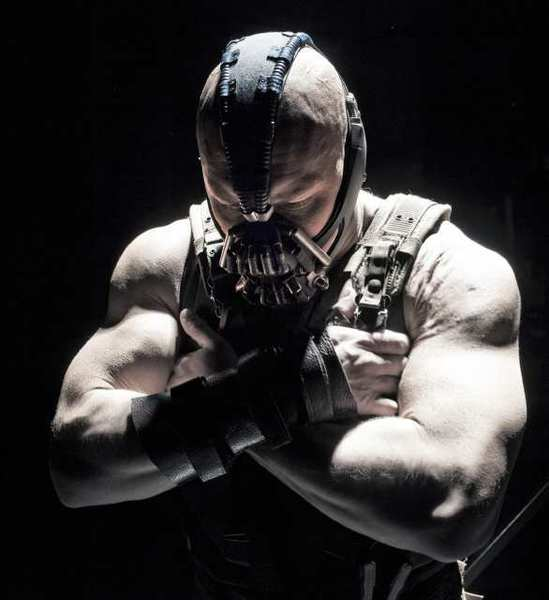 "Tom Hardy as Bane in the action thriller ""The Dark Knight Rises,"" a Warner Bros. Pictures release."