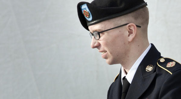 U.S. Army Pfc. Bradley Manning after a hearing at Ft. Meade in Maryland.