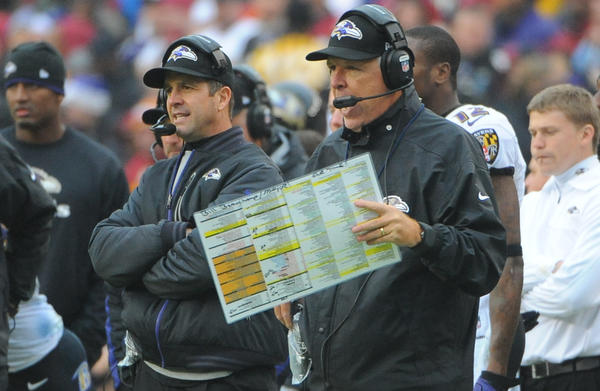 Ravens head coach John Harbaugh and offensive coordinator Cam Cameron are seen on the sidelines during Sunday's game against the Redskins.