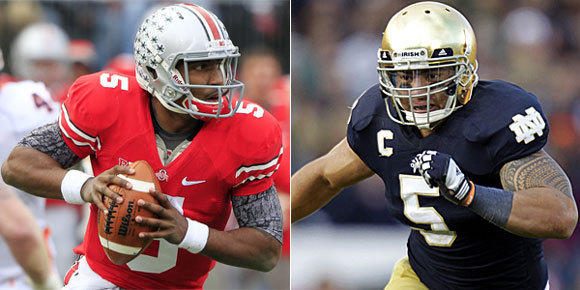 Braxton Miller, left, and the Ohio State Buckeyes won't get the chance to face Mati Te'o and the Notre Dame Fighting Irish in the BCS championship games due to NCAA sanctions.