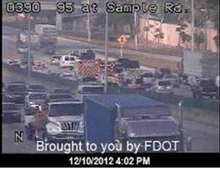 Three separate crashes tied up traffic for miles on northbound I-95 around Pompano Beach