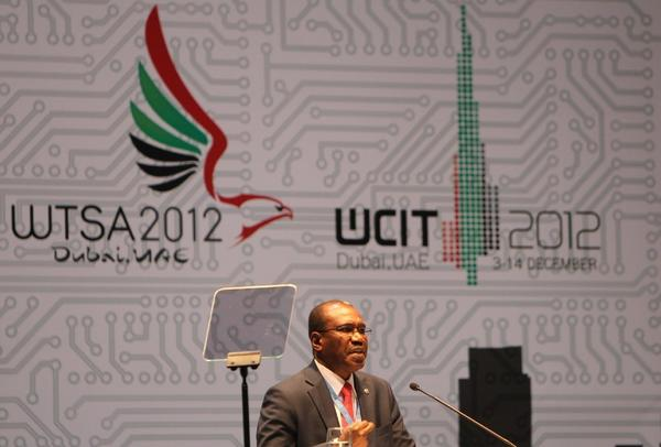 Hamadoun Toure of Mali, the secretary general of the International Telecommunication Union, speaks at the World Conference on International Telecommunications in Dubai.