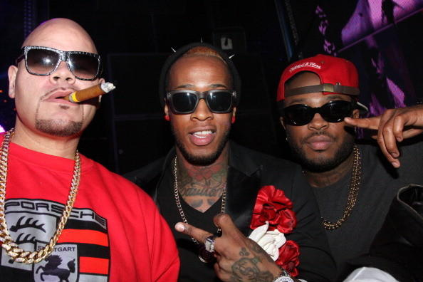 (L-R) Fat Joe, Popeye Caution, and Marcus Cooper attend Club Bamboo Miami on December 9, 2012 in Miami, Florida.