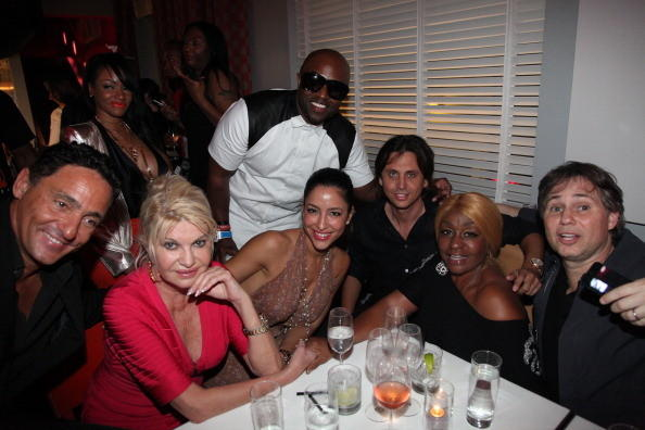 (L-R) Judith Light, Ivana Trump, Robin, Rico Love, guest, Jonathan Cheban, Janice Combs and Jason Binn attend Rico Love's 30th Birthday Celebration on December 8, 2012 in Miami, Florida.