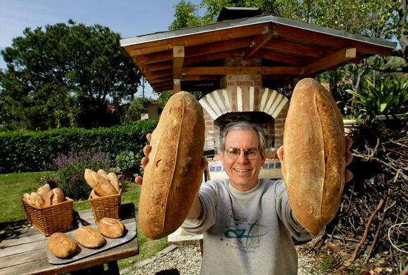 Mark Stambler at home with his bread
