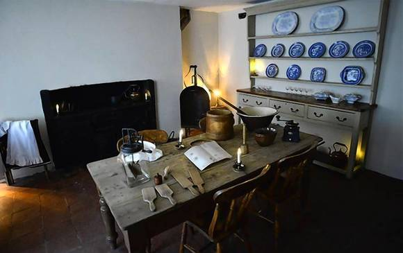The kitchen is seen in the Charles Dickens Museum in central London