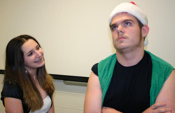 "Mary Pennington and Jacob Pauley play daughter and father in ""Holiday Quiz"""