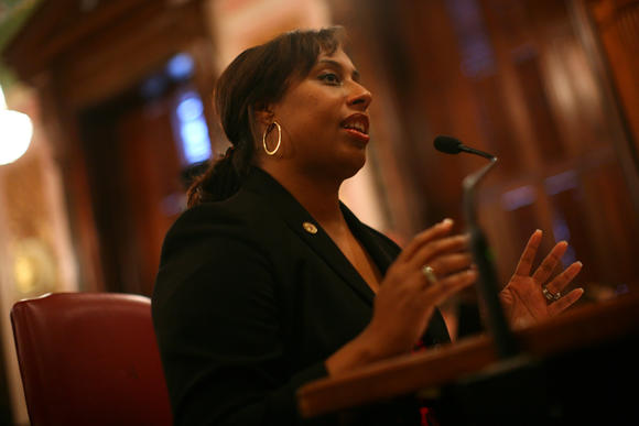 Illinois Sen. Toi Hutchinson, D-Olympia Fields, in Springfield last December. E. Jason Wambsgans, Chicago Tribune