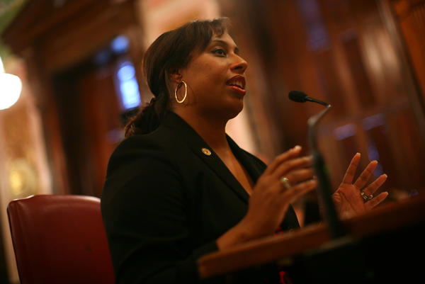 Illinois Sen. Toi Hutchinson, D-Olympia Fields, in Springfield last December.