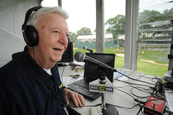 Broadcast legend and sports radio personality Arnold Dean mans the WTIC AM broadcast booth overlooking the 18th green at the Tournament Players Club on the second day of the Travelers Championship in 2009.