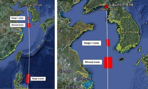 This image shared by the Union of Concerned Scientists shows the announced zones where stages of the North Korean rocket are expected to splash down.