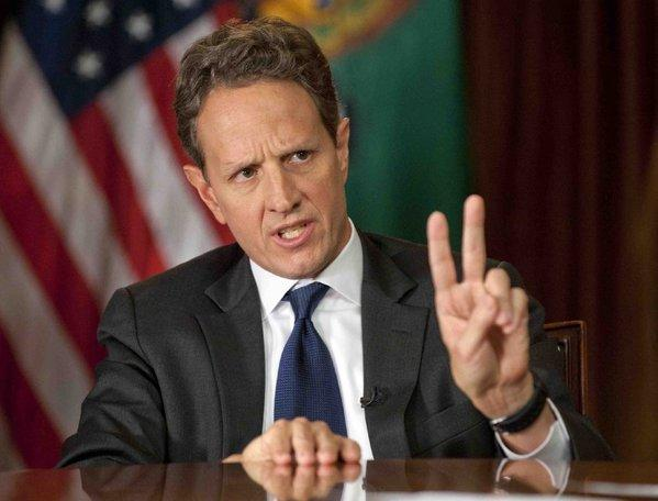 "Treasury Secretary Timothy Geithner answers questions about the ""fiscal cliff"" on the CBS News program ""Face the Nation"" on Dec. 2."