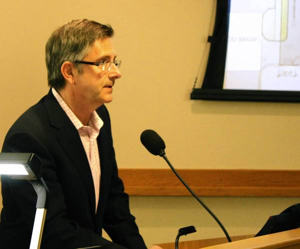 Evanston Sixth Ward Ald. Mark Tendam addressed the Skokie plan commission about plans to build a Walgreens at Old Orchard Road and Crawford Avenue in Skokie, on the Evanston border.