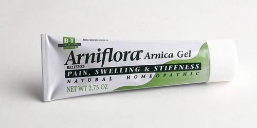 Arniflora Anrica Gel by Boerick & Tafel ($11.99) is a homeopathic product that helps relieve pain, swelling and stiffness. It's free of petroleum or animal products. Combine this with Rapid Relief Cold/Hot gel compresses ($4.45 for a 10 by 11 inch). These hot and cold packs can be thrown in the microwave or freezer. Arniflora is available at Whole Foods, wholefoods.com. To order Rapid Relief packs, call Consumer Lab Safety Supplies at 800-356-0783. Tell them you're placing a consumer order for product No. 144708.