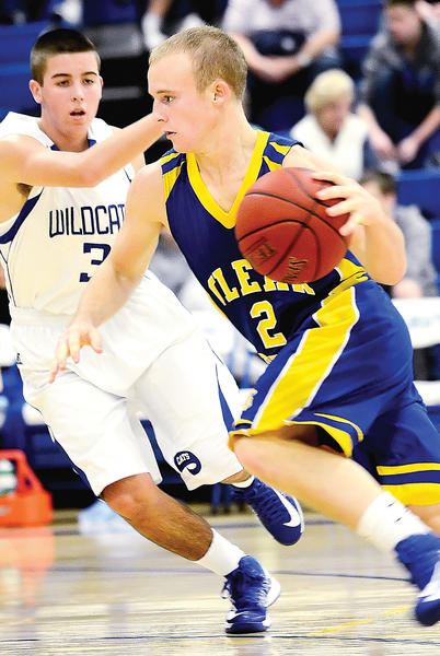 Clear Spring's C.J. Elwood drives around Williamsport's Ryan Crabtree in the first half Monday night.