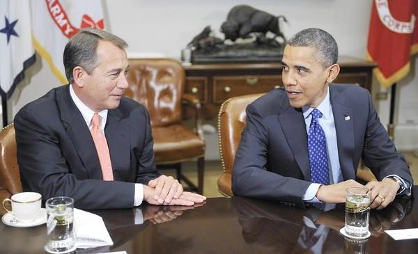 House Speaker John Boehner and President Obama at a meeting with congressional leaders. Despite a seemingly acrimonious dispute over fiscal policy, the two appear to get along well personally.