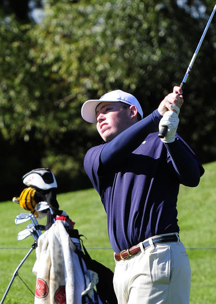 Bel Air's Matt Hottman watches his shot fly to the green during the Harford County Golf Championships at Geneva Farm Golf Course