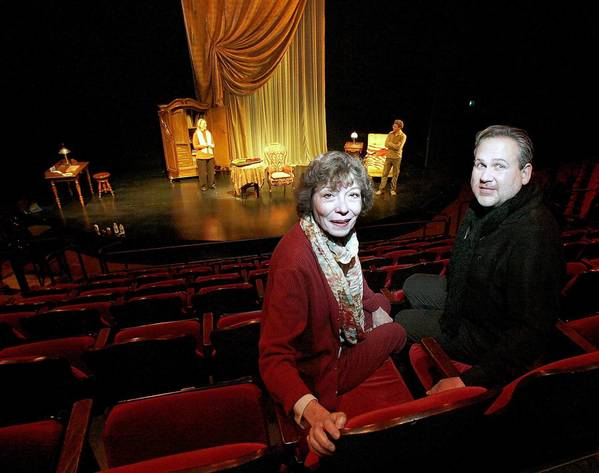 "Colony Theater artistic director Barbara Beckley and executive director Trent Steelman inside the theater during rehearsal of ""The Morini Strad"" in Burbank."