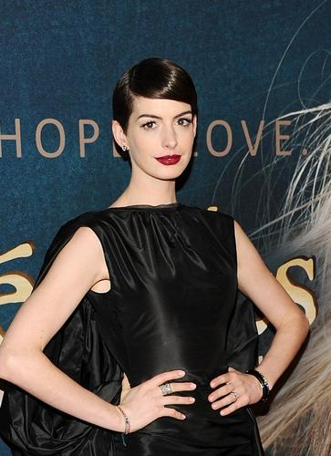 "Anne Hathaway, who plays Fantine in ""Les Miserables,"" arrives for the New York premiere of the film at the Ziegfeld Theatre."
